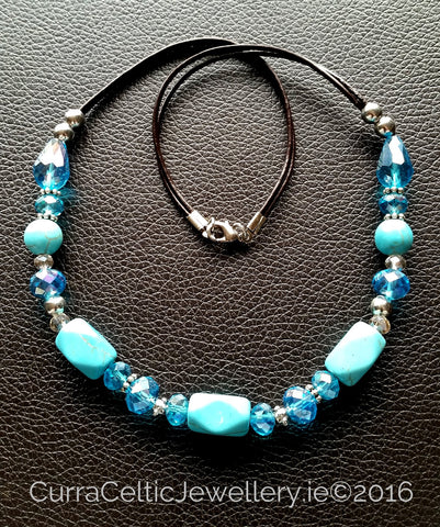 601 TURQUOISE Necklace with real agate & cut glass beads. - Curra Celtic Jewellery