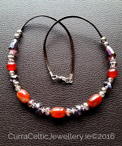 602 CARNELIAN Red Agate necklace with real agate & cut glass beads. - Curra Celtic Jewellery