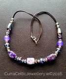 603 AMETHYST Necklace with real agate & cut glass beads. - Curra Celtic Jewellery