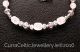 ROSE QUARTZ Necklace with real agate & cut glass beads.