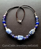 605 SODALITE Necklace with real agate & cut glass beads. - Curra Celtic Jewellery