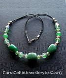 AVENTURINE Necklace with real agate & cut glass beads.