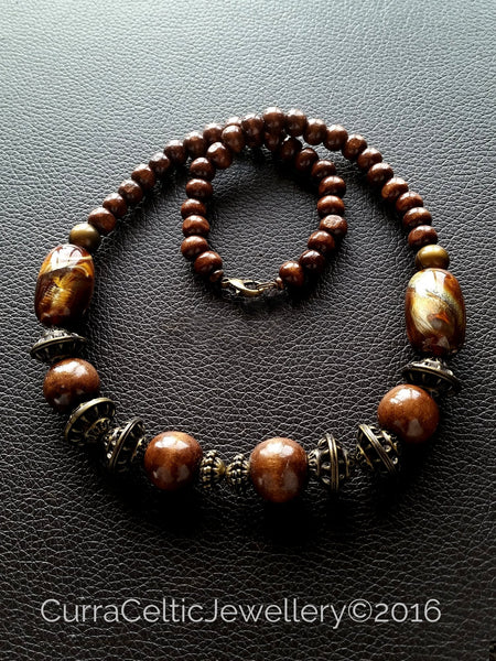 900 Ethnic Styled Chunky Wooden Necklace with plain beads.