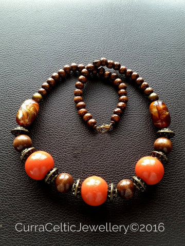 901 Ethnic Styled Chunky Wooden Necklace with Vermillion beads.