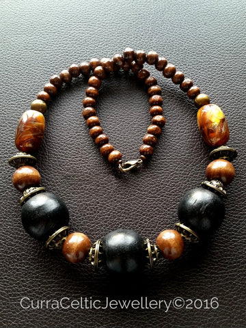 902 Ethnic Styled Chunky Wooden Necklace with Black beads.