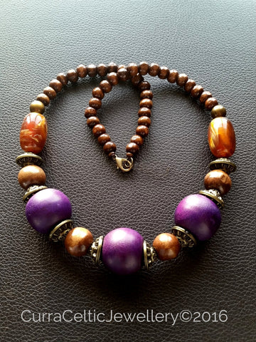 904 Ethnic Styled Chunky Wooden Necklace with Purple beads. - Curra Celtic Jewellery
