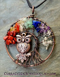 Tree of Life symbol in oxidised copper wire complete with roosting copper Owly and Chakra bead chips!