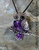 Cute antique style silver Owl Pendant/Brooch with a choice of gemstone cabochon, jewel eyes and embellished with various coloured wire spirals. This piece can also be worn as a Brooch!