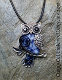 Cute antique style silver Owl Pendant/Brooch with a choice of 6 gemstone cabochons and embellished with various coloured wire spirals. This piece can also be worn as a Brooch!