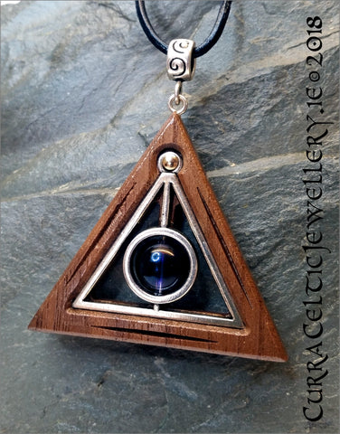Deathly Hallows Symbol in Black Walnut bezel with real Amethyst bead and spiral bail.