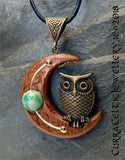 Bronze Owl on Crescent Moon of Iroko with choice of 3 gemstone beads.