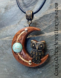 Small Bronze Owl on Iroko with choice of 3 gemstone beads.