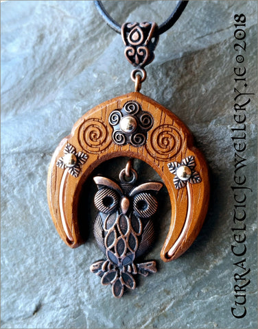 Copper Owl with Iroko hardwood, copper wire & accents.