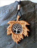Tree of Life symbol (yggdrasil)  in silver or bronze on Irish Oak.