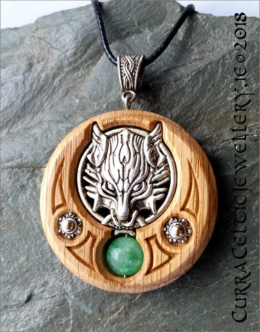 Wolf Head in silver on Irish Oak with silver accents and choice of 2 Gemstone Beads.