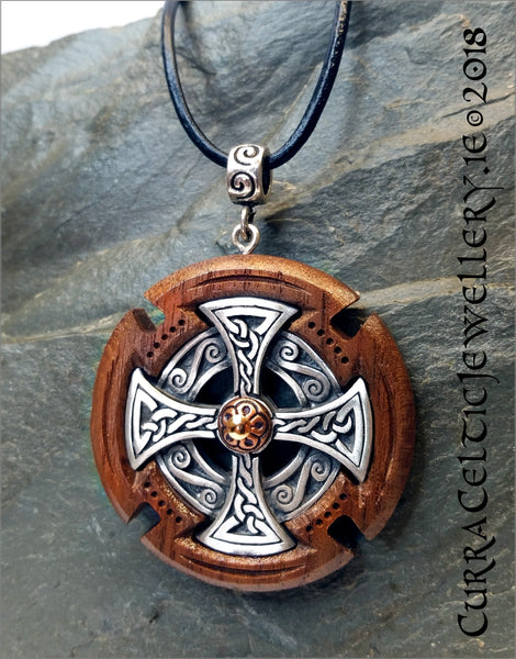 Celtic Cross Head Pendant in fine Pewter mounted in black Walnut with copper accent