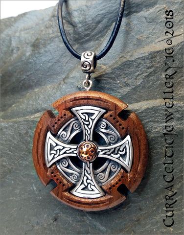 Celtic Cross Head Pendant in fine Pewter mounted in black Walnut with copper accent and silver spiral bail.