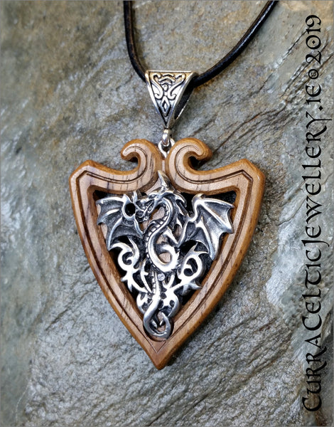 Rampant Dragon in antiqued pewter on a shield of Iroko Hardwood. Possibly one for the Man in your life...