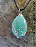 Green Aventurine gemstone wire wrapped with Tree of Life symbol in silver plated wire.