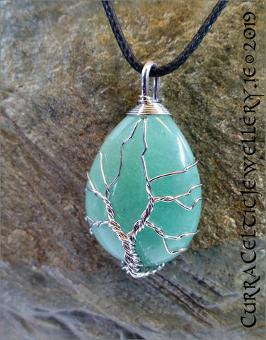 Green Aventurine with silverplated wire.