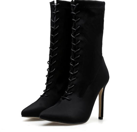 Pointed Toe Lace-Up Stretchable Ankle Boots