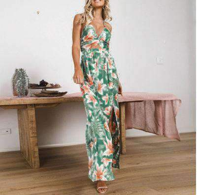 Floral Printed Backless High Split Spaghetti Strap Dress