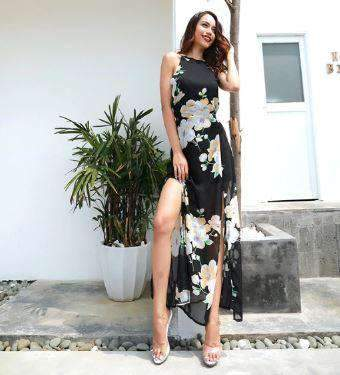 Printed High-Waist Long Floral Dress