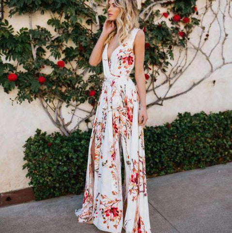 Floral Printed Deep V Neck Sleeveless Chiffon Dress