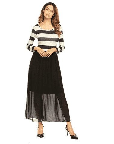 Pleated Sleeve Patchwork Chiffon Dress