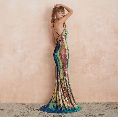 Multi Color Sequined Backless Mermaid Party Dress