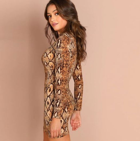 Snake Skin Mock Neck Long Sleeve Short Dress