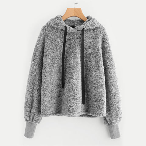 Faux Fur Fluffy Hooded Pullover Sweatshirt