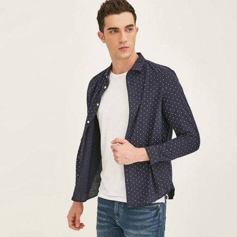 Polka Dot Full Sleeves Turn-Down Collar Cotton Shirt