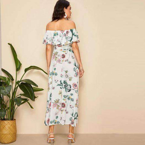 Boho Floral Printed Split Hem Off Shoulder Maxi Dress