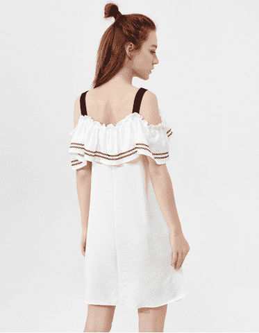 Butterfly Sleeve Strap Off Shoulder Casual Dress