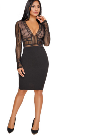 V Neck Long Sleeve Knee Length Bodycon Lace Dress