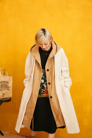 Solid Straight Belted Hooded Wool Coat