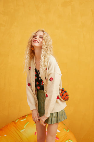 Embroidered Strawberry Pearl Button Casual Cardigan Sweater