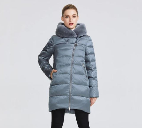 Windproof Hooded Stand-Up Collar Rabbit Fur Parka Coat