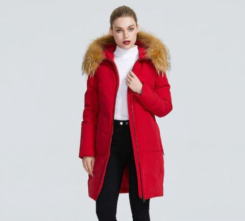 Fur Hooded with Patch Pockets Women Winter Parka Coat