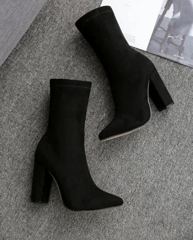 Flock Pointed Toe High Zipper Ankle Boots
