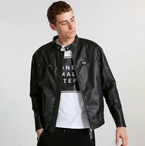 Men's Wide-Waisted Hooded PU Leather Jacket