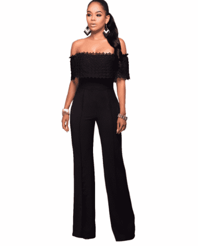 Jumpsuit Off Shoulder Slash Neck Beach Rompers Jumpsuit White Black