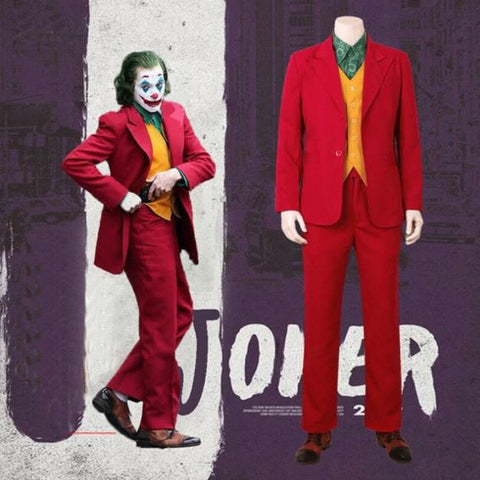 Arthur Fleck's Joker DC Cosplay Halloween Costume with Mask
