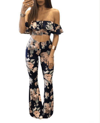 Floral Print Ruffle Off the Shoulder 2 Piece Dress