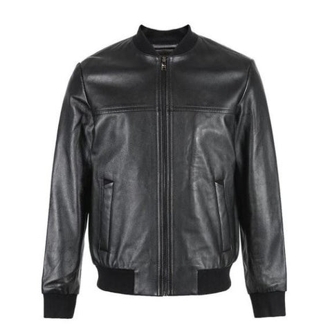 Men's Sheepskin Baseball Collar Genuine Leather Jacket