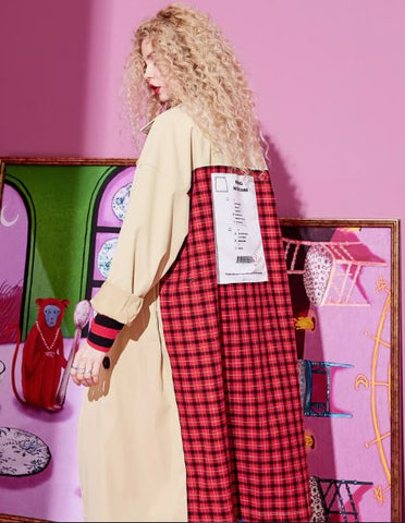 Plaid Turn-down Collar Double Breasted Trench Coat