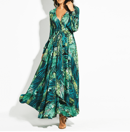 Floral V-Neck Printed Lace-Up Ankle-Length Maxi Dress