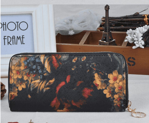 Deep Oil Painting Floral Large Zip Wallet