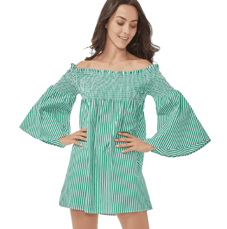 Off Shoulder Striped Slash Neck Flare Sleeve Dress